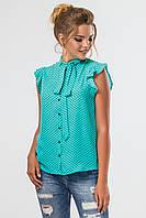 Мятная блузка в мелкий горошек, фото 1