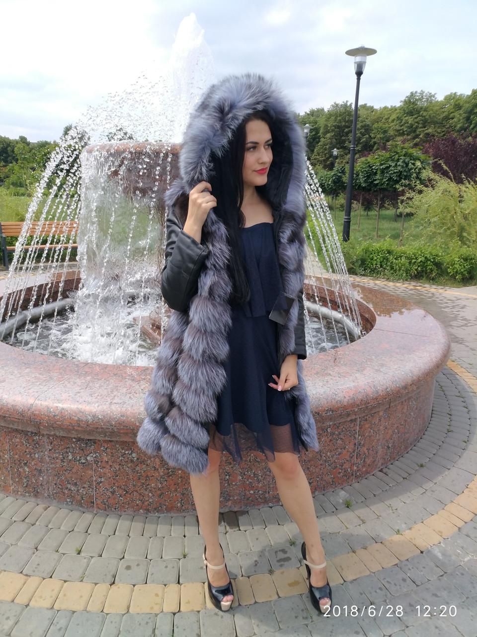 Женская шубка из чернобурки с кожанным рукавом с капюшон (347)