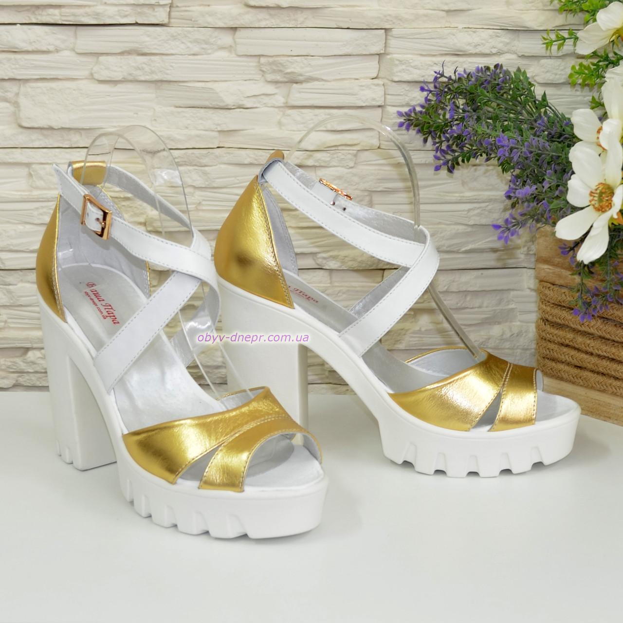 2622aaf74dff Босоножки женские на высоком каблуке, из натуральной кожи золотистого и  белого цвета. 38 размер