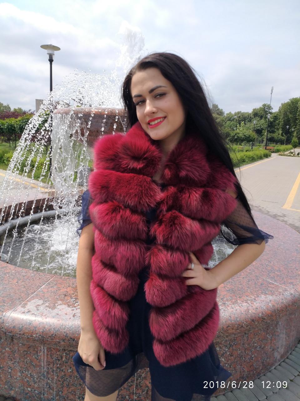 Женский жилет из натурального меха финского песца,цвет бордо