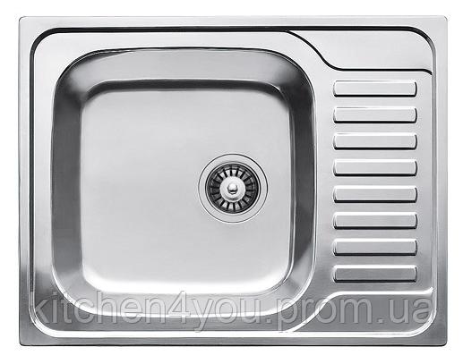 Прямоугольная кухонная мойка Fabiano 65х50 нержавеющая сталь, микродекор