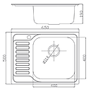 Прямоугольная кухонная мойка Fabiano 65х50 нержавеющая сталь, микродекор, фото 5
