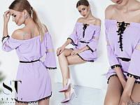 Короткое свободное летнее платье с открытыми плечами (в расцветках) 19046PL, фото 1
