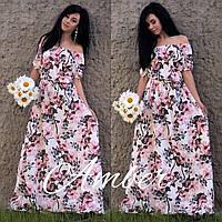 Длинное принтованное платье с открытыми плечами (в расцветках) 19057PL, фото 1