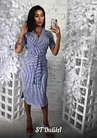 Платье - рубашка с коротким рукавом и лацканами 19063PL, фото 1
