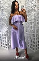 Льняное платье миди с открытыми плечами и воланом (в расцветках) 19062PL, фото 1