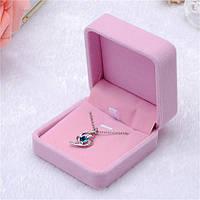 """Подарочная бархатная коробочка """"Шарм"""" для кулона/подвески/комплекта и др. (розовая), фото 1"""