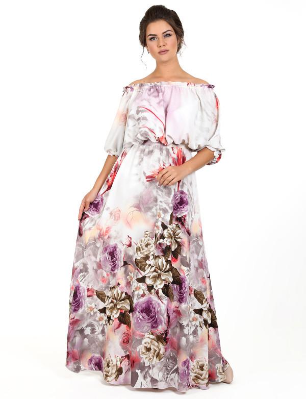 59952cffdb83016 Длинное летнее платье из шифона с цветами - Модный магазин в Киевской  области