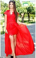 Нарядное платье мини с длинной юбкой в пол с коротким рукавом кружева ресничка красное