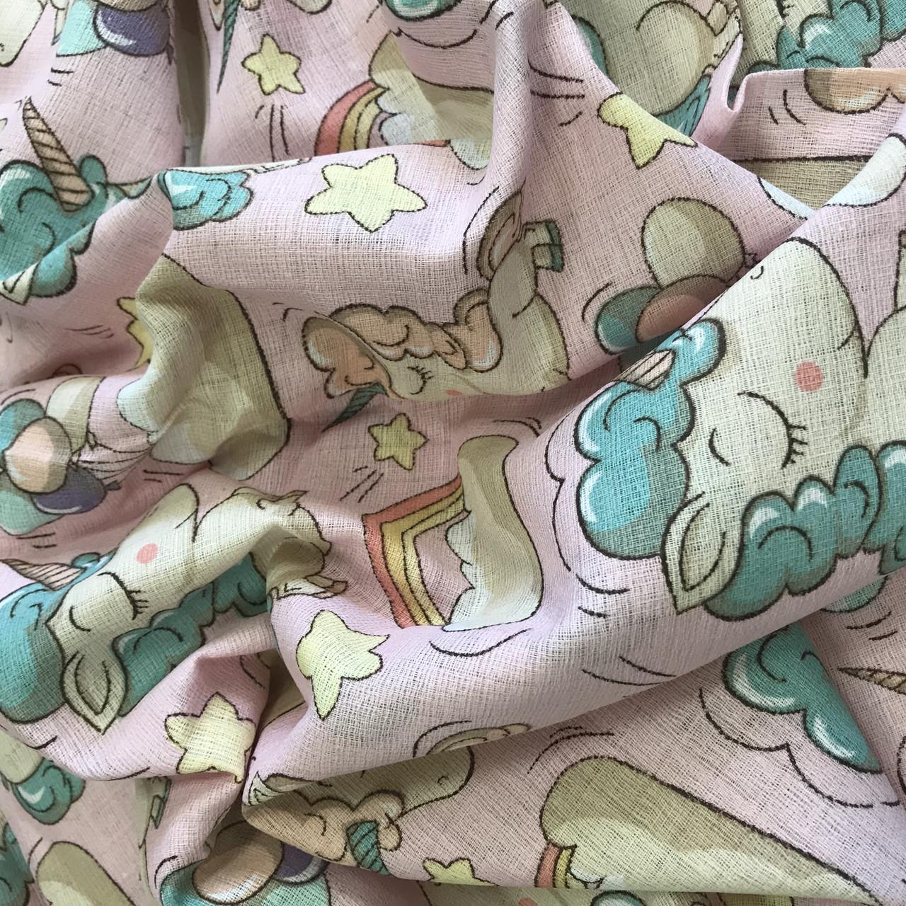 Муслин для пеленок единороги  с облакми и радугой на розовом