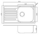Прямокутна кухонна мийка Fabiano 78х43 нержавіюча сталь, сатин, фото 5