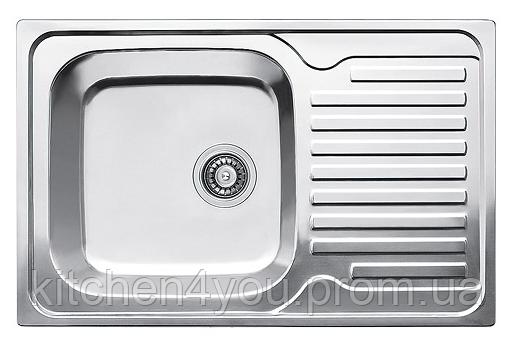 Прямоугольная кухонная мойка Fabiano 78х50 нержавеющая сталь, сатин