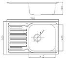 Прямоугольная кухонная мойка Fabiano 78х50 нержавеющая сталь, сатин, фото 5