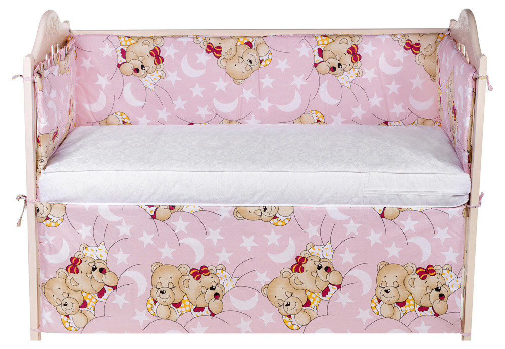 quatro Защита в кроватку Qvatro Gold ZG-02 розовыя (мишка спят) 621846