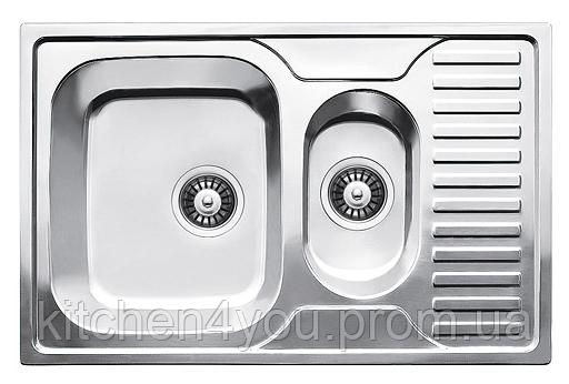 Прямоугольная полуторная кухонная мойка Fabiano 78х50х1,5 нержавеющая сталь, микродекор