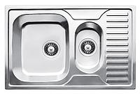 Прямоугольная полуторная кухонная мойка Fabiano 78х50х1,5 нержавеющая сталь, микродекор, фото 1