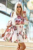 Женское летнее платье с цветочным узором, материал - лен