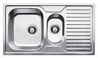 Прямоугольная полуторная кухонная мойка  Fabiano 88х50х1,5 нержавеющая сталь, микродекор, фото 1