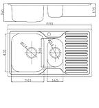 Прямокутна полуторне кухонна мийка Fabiano 88х50х1,5 нержавіюча сталь, микродекор, фото 5
