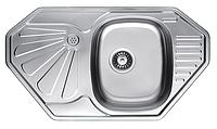 Угловая кухонная мойка Fabiano 85х47 нержавеющая сталь, сатин, фото 1