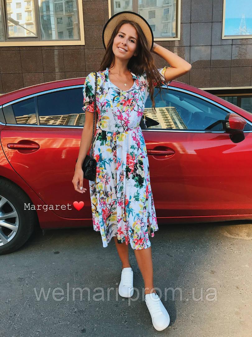 81e05939959 Женское красивое платье миди с ярким летним принтом - WEL MARI  интернет-магазин женской одежды