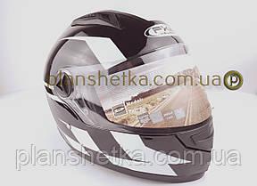 Шлем для мотоцикла Hel-Met 111 черный с полосой Nomad, фото 2