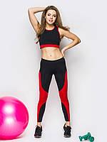 Женский фитнес костюм топ + лосины черного и красного цвета