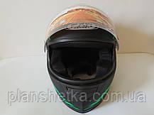 Шлем для мотоцикла Hel-Met 111 черный мат с зеленым, фото 3