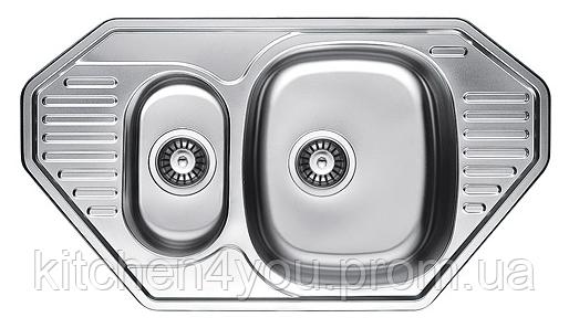Кутова кухонна мийка Fabiano 85х47х1,5 нержавіюча сталь, микродекор