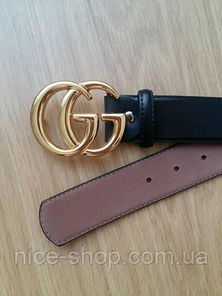 Копия Ремень Gucci кожаный черный 3,8 см в коробке, фото 2