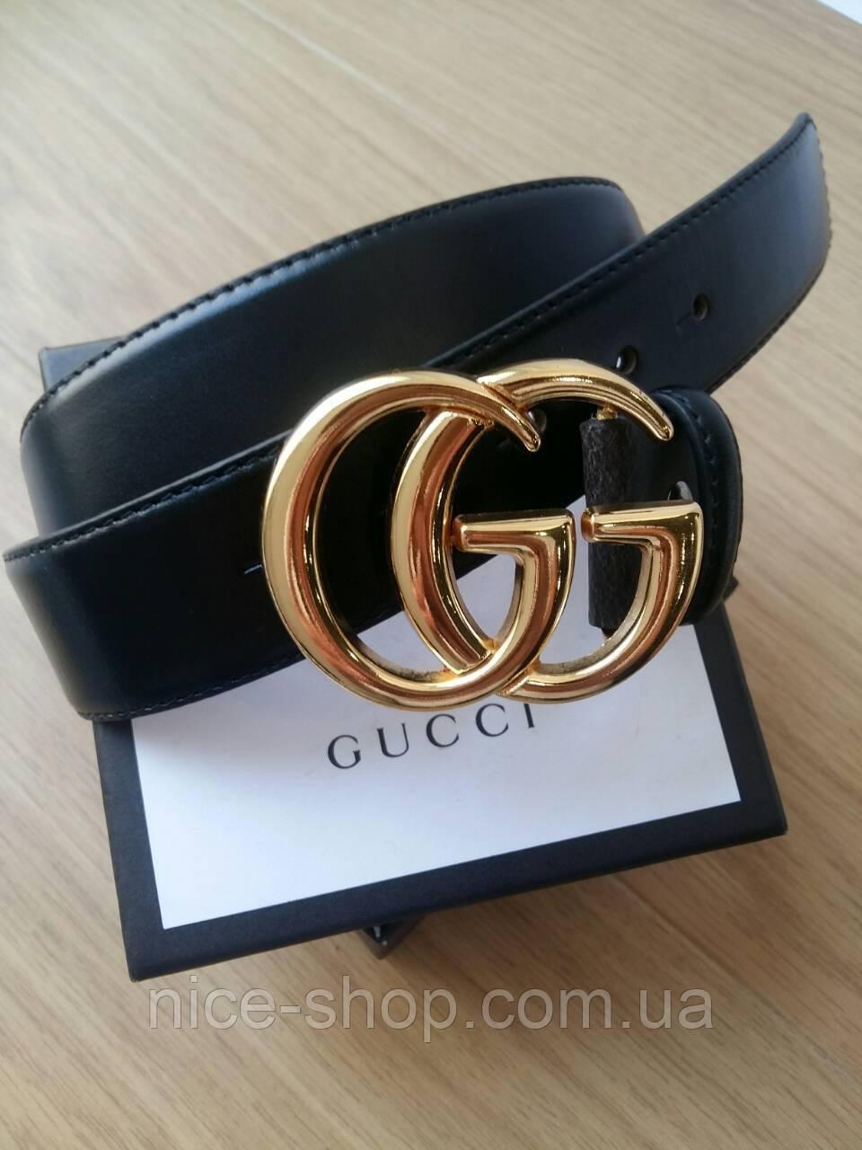 Копия Ремень Gucci кожаный черный 3,8 см в коробке