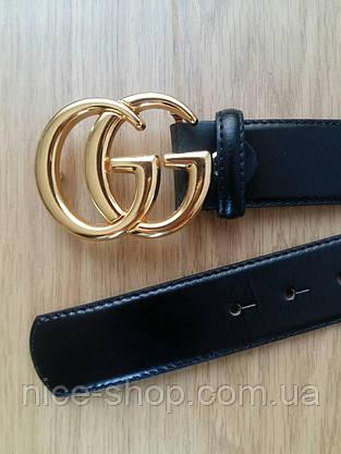 Копия Ремень Gucci кожаный черный 3,8 см в коробке, фото 3