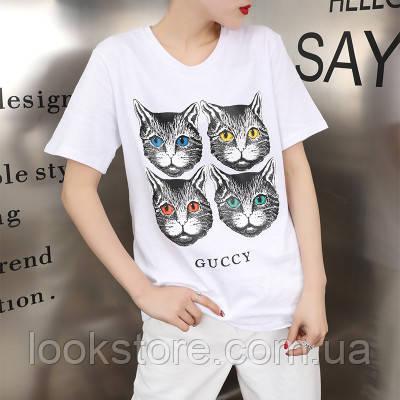 Женская футболка в стиле Gucci с кошечками белая