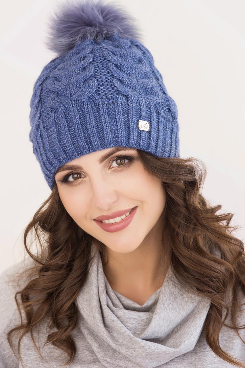 Женская шапка «Анжелика» с песцовым помпоном