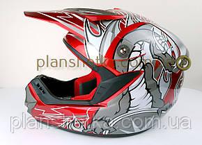 Шлем для мотоцикла Hel-Met 117 кроссовый красный, фото 2