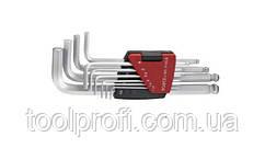 Набор ключей 6-гранных (HEX) Г-образных с шаром длинных 10 пр. (1.27-10 мм)