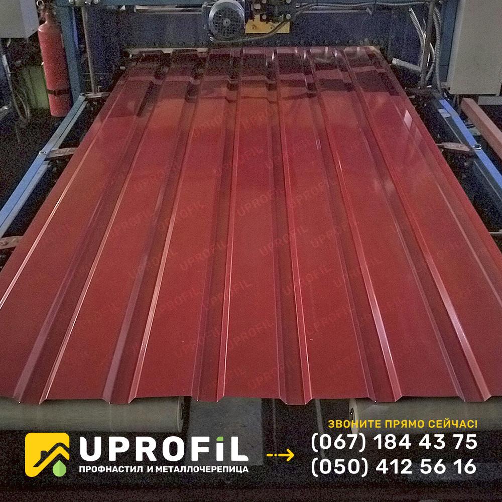 Профнастил ПС15 для забора Красный RAL 3011 глянец 0.42 мм.