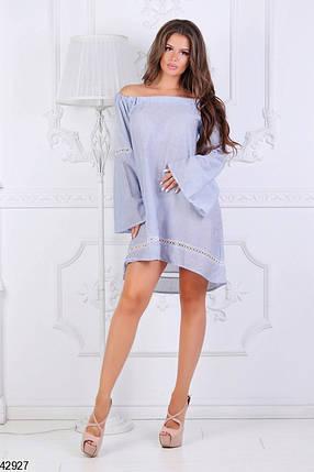 Летнее платье асимметричное свободное длинный рукав расклешенный мелкая полоска синее, фото 2