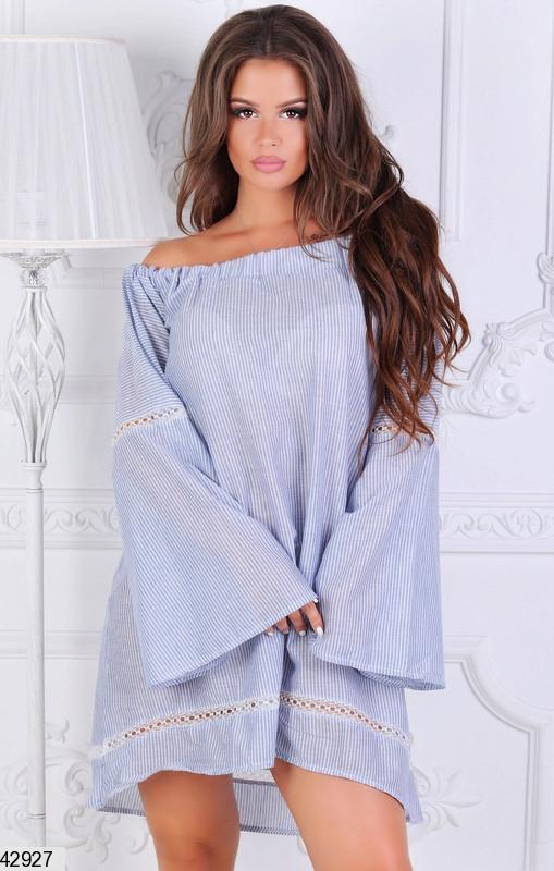 Летнее платье асимметричное свободное длинный рукав расклешенный мелкая полоска синее