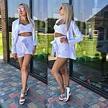 Женский костюм-тройка: жакет, топ и шорты с высокой посадкой (3 цвета), фото 3