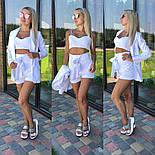 Женский костюм-тройка: жакет, топ и шорты с высокой посадкой (3 цвета), фото 5