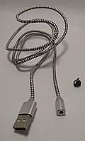 Магнітна usb зарядка X-cable 360 для (Micro Usb) срібний