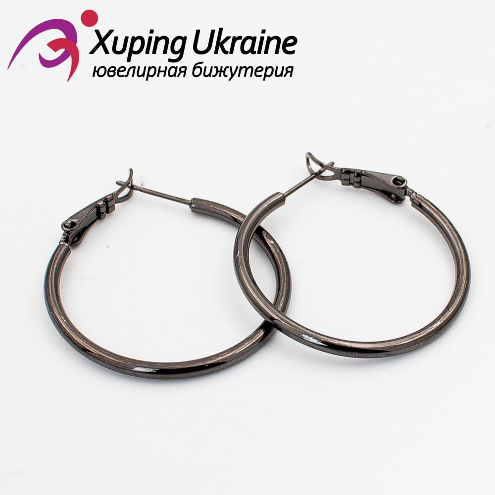 Серьги-кольца черный родиум 3 см