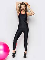 Женский фитнес костюм майка + лосины черного и красного цвета