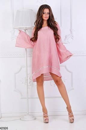 Легкое платье на лето короткое свободное рукав широкий лен полосатое коралловое, фото 2