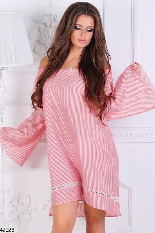 Легкое платье на лето короткое свободное рукав широкий лен полосатое коралловое