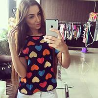 Блуза женская с короткими рукавами / Футболка шифоновая с сердечками синяя, фото 1
