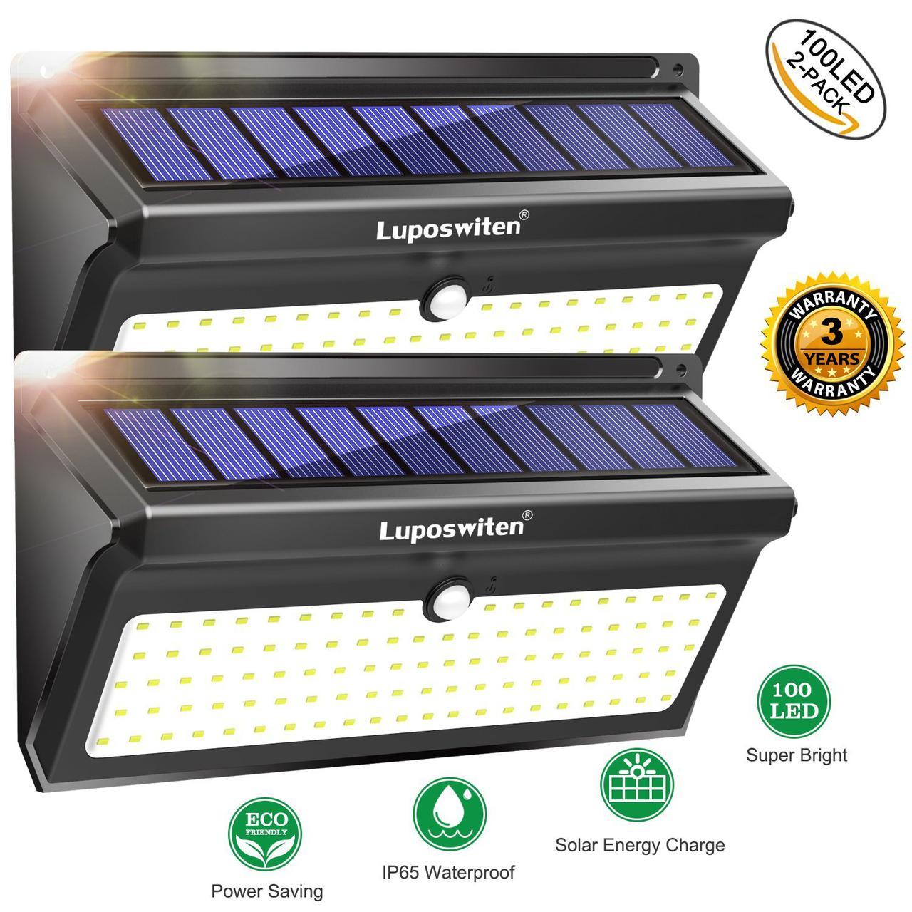 Настенные уличные LED светильники Luposwiten водонепроницаемые на солнечных батареях (2 шт.)