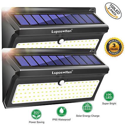 Настенные уличные LED светильники Luposwiten водонепроницаемые на солнечных батареях (2 шт.), фото 2