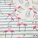 Хлопковая ткань польская фламинго розовые на голубой полоске, фото 2